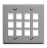 ICC IC107F12GY Grey Double Gang 12 Port Keystone Wall Plate