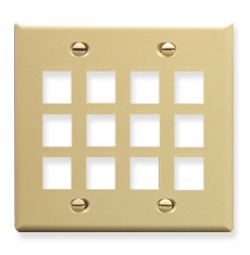 ICC Cabling Products: IC107F12IV 12 Port Keystone Wall Plate