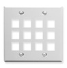 ICC IC107F12WH White Double Gang 12 Port Keystone Wall Plate