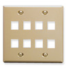 ICC IC107FD8IV Ivory Double Gang 8 Port Keystone Wall Plate