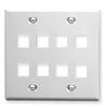 ICC IC107FD8WH White Double Gang 8 Port Keystone Wall Plate