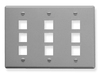 ICC IC107FT9GY Grey Triple Gang 9 Port Keystone Wall Plate