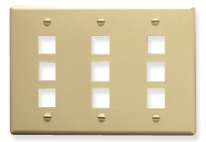 ICC Cabling Products: IC107FT9IV 9 Port Keystone Wall Plate