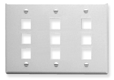 ICC Cabling Products: IC107FT9WH 9 Port Keystone Wall Plate