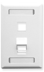 ICC Cabling Products: White 2 Port Angled Station ID Wall Plate