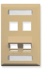 ICC Cabling Products: Ivory 4 Port Angled Station ID Wall Plate