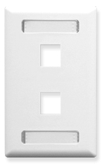 ICC Cabling Products: White 2 Port Station ID Wall Plate