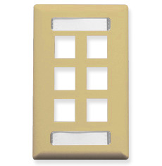 ICC Cabling Products: Ivory 6 Port Station ID Wall Plate