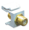 ICC IC107B5GWH White Gold Plated F Connector Keystone Jack