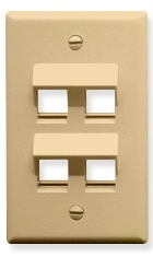 ICC Cabling Products: IC107DA4IV Ivory 4 Port Keystone Wall Plate