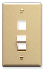 ICC Cabling Products: IC107AF2IV Ivory 2 Port Angled Bottom Wall Plate