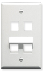ICC Cabling Products: IC107AF4WH 4 Port Angled Bottom Wall Plate