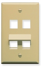 ICC Cabling Products: IC107AF4IV Ivory 4 Port Angled Bottom Wall Plate