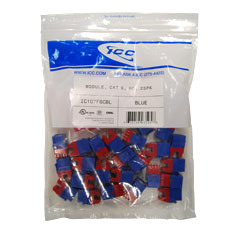 ICC Cabling Products: IC107F6CBL Blue HD Cat 6 Keystone Jack 25 Pack
