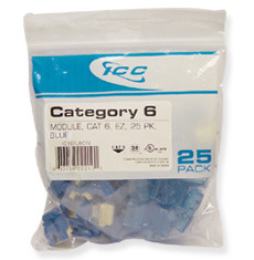 ICC Cabling Products: IC107L6CBL Blue EZ Cat 6 Keystone Jack 25 Pack