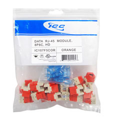 ICC Cabling Products: IC107F5COR Orange HD Cat5e Keystone Jack 25 Pack