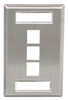 ICC Cabling Products: IC107S03SS Single Gang 3 Port ID Stainless Steel Wall Plate