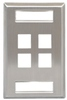 ICC Cabling Products: IC107S04SS Single Gang 4 Port ID Stainless Steel Wall Plate