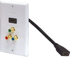 526-117WH: Component Video and Pigtail HDMI Wall Plate