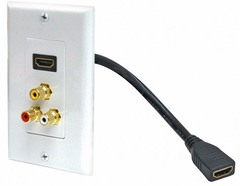 526-115WH: Composite Cable with Pigtail HDMI Wall Plate